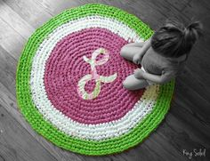 Crochet Monogram Rug Custom Initial and Colors by KingSoleil, $198.00