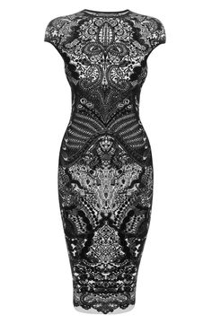 Black Victorian Puckering Lace Jacquard Cap-Sleeve Pencil Dress Alexander McQueen
