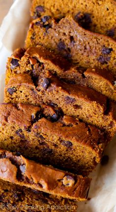 This recipe is from my cookbook, Sally's Baking Addiction Cookbook, and makes one heck of a moist loaf of pumpkin bread. This fall favorite is packed with sweet cinnamon spice, chocolate chips, and tons of pumpkin flavor. Moist Pumpkin Bread, Pumpkin Chocolate Chip Bread, Pumpkin Loaf, Spiced Pumpkin, Pumpkin Spice Bread, Pumpkin Oatmeal, Pumpkin Puree, Just Desserts, Delicious Desserts