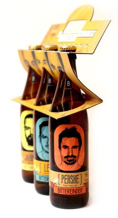 Bittereinder Craft Beer by Igmari Naude, via Behance I like this concept because it is different from any other container for this product. Also i this this style of packaging would cut down the amount of paper used to design it. Branding And Packaging, Beverage Packaging, Bottle Packaging, Design Packaging, Coffee Packaging, Food Packaging, Craft Beer Brands, Craft Beer Labels, Wine Labels