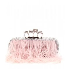 Alexander McQueen / Skull Knuckle crystal bead and feather embellished baguette clutch