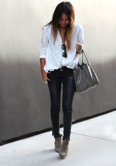 leather pants & loose white blouse, very cool
