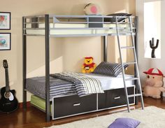 CM-BK1011TWIN BUNK BED CLETIA COLLECTION Create style and functional sleeping space in your home with this simple modern bunk bed. Made of metal construction, this space saving bunk bed has a movable ladder for easy access to the top bunk and is finished in silver and gun metal gray.• Contemporary Style • Movable Ladder• Optional Twin Trundle Sale for $496