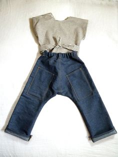 custom denim jeans with quilted knee patches and organic hemp wrap top by harriet & daughters on etsy