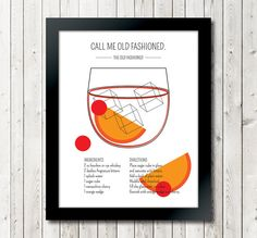 Classic Cocktails The Old Fashioned Art Print // by TheTenant, $10.00