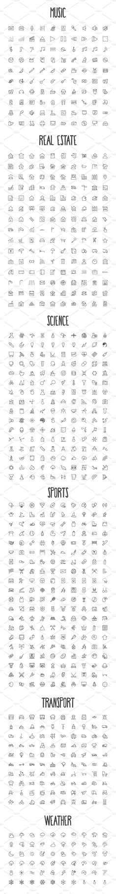 2440 Hand Drawn Doodle Icons Bundle by Creative Stall on @creativemarket