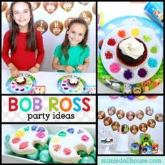 Amazing ideas for a Bob Ross Birthday Party! Want to hold a Bob Ross painting party? Happy Little Painters can celebrate their birthday or any occasion painting with the one and only iconic painter! Bob Ross Birthday, 13th Birthday, Birthday Parties, Art Party Foods, Bob Ross Wig, Diy Craft Projects, Crafts For Kids, Minecraft Birthday Party, Birthday Ideas