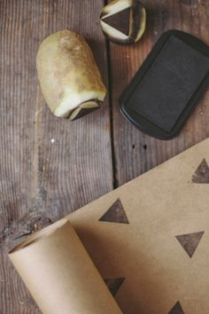 Delightfully Tacky: potato stamped wrapping paper