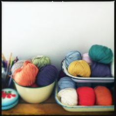 Enamelware yarn storage