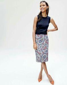 JCrew Paisley skirt + navy Jackie shell