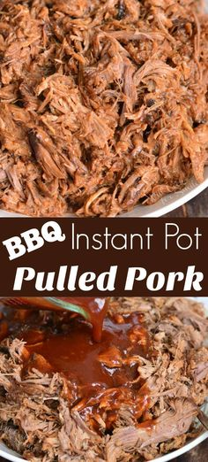 Instant Pot BBQ Pulled Pork Unbelievable pulled pork recipe that s made in an Instant Pot and mixed with homemade BBQ sauce In an Instant Pot this whole recipe will take about an hour and a half Pulled Pork Bbq Sauce, Easy Pulled Pork, Pulled Pork Sauce Recipe, Making Pulled Pork, Pulled Pork Instant Pot Recipe, Instant Pot Dinner Recipes, Recipes Dinner, Dessert Recipes, Pork Roast Recipes