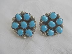 "Vintage Navajo earrings of sterling silver and turquoise.  Clip earrings are signed Sterling.  Wonderful vintage condition.  1""  More Native American Jewelry in my shop:  h... #southwest"