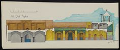 Ali Quli Aqa Complex  in Isfahan. Hand-colored section through mosque (SE to NW) by Claus Breede