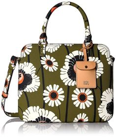 Orla Kiely Textured Vinyl Poppies and Daisies Print Jeanie Bag Olive ** See this great product. (This is an affiliate link) leather handbags and purses Suede Tote Bag, Nylon Tote Bags, Chain Crossbody Bag, Tote Purse, Orla Kiely Handbags, Leather Hobo Handbags, Leather Bag, Cute Bags, Casual Bags