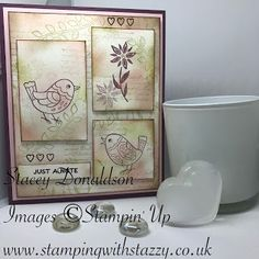 Stamping with Stazzy: Feathery Friends Note Card Hello Everyone! Bee Cards, Have A Lovely Weekend, Cards For Friends, Stamping Up, Hello Everyone, Decorative Boxes, Projects To Try, Greeting Cards, Paper Crafts