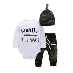 5929975c006 Fineser 3PCS Baby Boys Girls Letter Print Long Sleeve Romper Jumpsuit  Camoflage Pants Cap Outfits Set