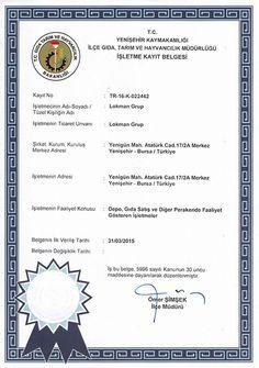 LokmanAVM Gıda Tarım Bakanlığı İşletme Kayıt Belgemiz
