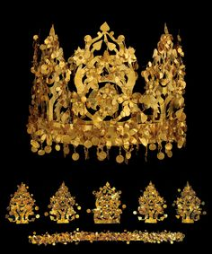 Crown, from Tomb VI, Tillya Tepe, Afghanistan, 2nd quarter 1st century AD. Whole and taken apart.