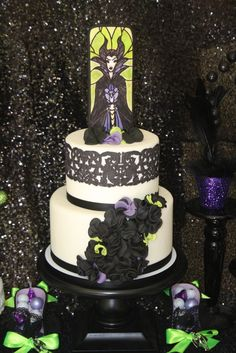 Maleficent Birthday Party cake!  See more party ideas at CatchMyParty.com!