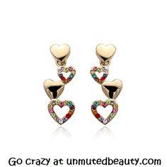 Trailing Gold Hearts Earrings (Multi-coloured gems) | unmutedbeauty.com