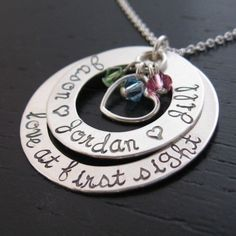 """Jocelyn """"love at first sight"""" personalized necklace with crystals"""