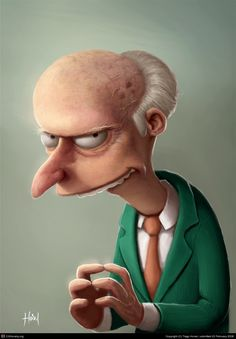 """Mr Burns, The Simpsons, Illustration."""" Morehouse Morehouse Hawkesworth, this one's for you and your 7 year old self! Funny Illustration, Fantasy Illustration, Character Illustration, Digital Illustration, 3d Illustrations, Creative Illustration, The Simpsons, Sr Burns, Images Disney"""