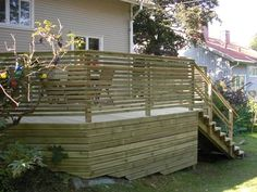 staket ribbor liggande - Sök på Google Deck Railings, Wooden Decks, Plank, Hedges, Fence, Pergola, Sweet Home, Building, Outdoor Decor