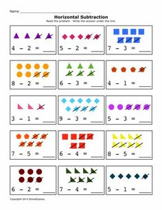 This Subtraction horizontal eWorkbook offers 17 worksheets. Your students will be able to learn subtraction skills using these different worksheets. Math Subtraction Worksheets, Subtraction Kindergarten, Kindergarten Math Worksheets, Teaching Math, Free Worksheets, Worksheet For Nursery Class, Math Boards, Numbers Preschool, Homeschool Math