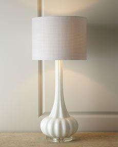 White Rippled Glass Lamp