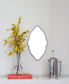 RESERVED FOR JoAnne / / / Oval Scalloped Mirror Handmade Wall Mirror Ornate Organic Frameless Wall Mirror Miroir