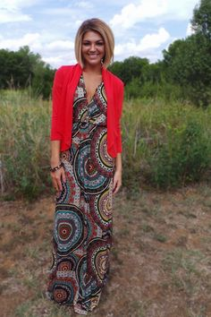 The ZigZag Stripe - Red Blazer, $27.00 (http://www.zigzagstripe.net/red-blazer/) Use discount code PinZZS and save 20% off your total! #maxidress
