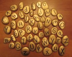 """Pirate gold alphabet stones - from Kindergarten: Holding Hands and Sticking Together ("""",) Great for Pirate Party - treasure hunt to find letters and unscramble for clue to find treasure. Pirate Day, Pirate Theme, Escape Room, Preschool Literacy, Preschool Ideas, Early Literacy, Craft Ideas, Pirates Gold, Pirate Activities"""