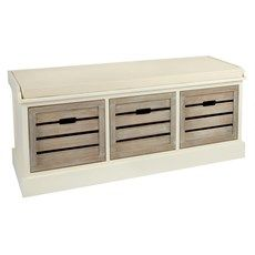 Seating and storage make a stylish presentation on our attractive bench. Featuring 3 generously sized shutter-style drawers with a washed wood design, plus cushy padded top, this handy bench is a welcome addition to any home. Entryway Coat Rack, Chalet Chic, Entryway Furniture, Affordable Furniture, Gift Store, First Home, Wood Design, Comforter Sets, Shutters