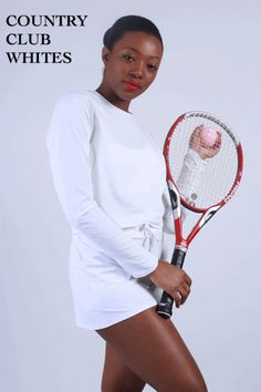 Yaffa Country Club Whites Tennis Whites, Outdoor Workouts, Golf Outfit, Sun Protection, Tennis Racket, Active Wear, Club, Clothes For Women, Country