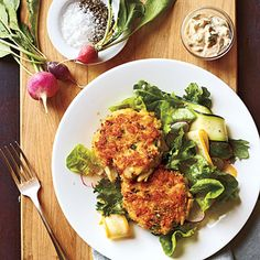 """Meal #31: Fiery Flavors    Editor Scott Mowbray proclaimed, """"These are the best crab cakes we've ever made!"""" Try them out and see for yourself. For a milder Rémoulade sauce, omit the red pepper.      Crab Cakes with Spicy Rémoulade  Mixed Greens Salad"""