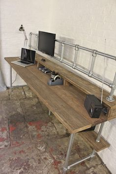 Douglas Reclaimed Scaffolding Board Industrial Style Desk with Built In Storage Section, Overhead Monitor Mounting Rails and Under Shelf. I've been searching for a design I love, so I can make my own standup desk. Industrial Style Desk, Industrial Furniture, Industrial Pipe, Industrial Office Storage, Urban Industrial, Pipe Furniture, Furniture Design, Cheap Furniture, Diy Computer Desk