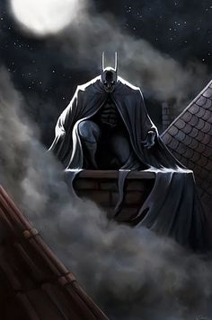 Here is your winner for June…Batman! To get back into character after finishing my Silver Surfer series I wanted to create a simple but meaningful artwork. Batman sitting above the roofs of old Got. Batman Artwork, Batman Wallpaper, Batman Painting, Comic Manga, Comic Art, Nightwing, Batgirl, Comic Book Characters, Comic Character