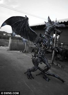 Welded from Steel Scraps | Heavy metal: Terminator (left) and a dragon (right) are among the Sci ...
