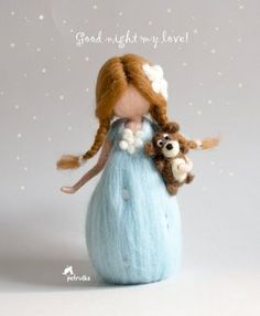 Little good night fairy with her teddy bear, best friends, waldorf, needle felted fairy,good night,