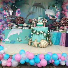 Dolphin Birthday Parties, Dolphin Party, Mermaid Theme Birthday, Little Mermaid Birthday, Bubble Guppies Birthday, Mermaid Baby Showers, Mermaid Parties, Under The Sea Party, Birthday Party Decorations