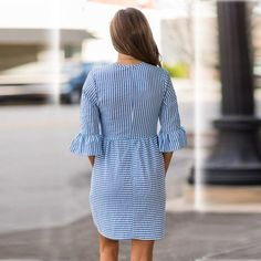 Tie together cute and casual with this striped dress! Shop quickly while supplies last! - Polyester - Comfortable inside fibers - Handwash only Simple Short Dresses, Striped Short Dresses, Striped Dress, Simple Gowns, Sexy Dresses, Cute Dresses, Casual Dresses, Fashion Dresses, Elegant Dresses
