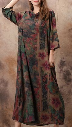 a529b9ae32 Flowy stand collar silk Wardrobes top quality Sewing green print Maxi  Dresses spring. Omychic Linen Dress