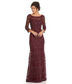 Red maroon cranberry lace formal long sleeve dress