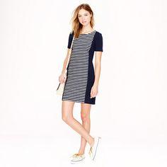Solid side panels for interlock dress? - J.Crew - Stripe knit shift dress