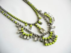 Vintage 1950s One Of  A Kind Neon Yellow Necklace  by LoveObsessed, $110.00