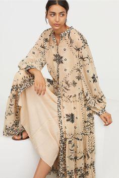 Long Crinkle Dress - Powdered Beige / Pattern - WOMEN | H & M FR 1