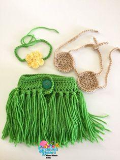 Little Hula Girl Outfit Crochet Pattern #GrammaBeans: