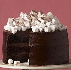 Hot Chocolate Layer Cake with Homemade Marshmallows recipe