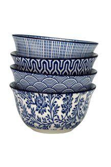 4 tigelas de cerâmica Blue Lagoon<BR>30 cl
