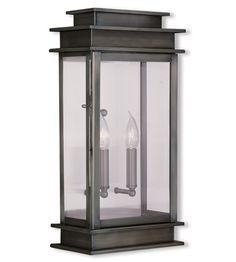 Livex 2018-29 Princeton 2 Light 19 inch Vintage Pewter Outdoor Wall Lantern $420 #LightingNewYork